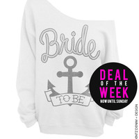 Anchor Bride - White with Silver Off The Shoulder Slouchy Sweatshirt