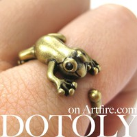 Leap Frog Realistic Animal Ring in Brass - Size 4 to 8.5 Available