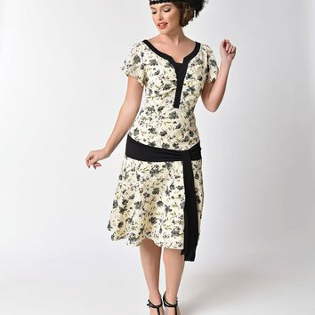 Unique Vintage 1930s Style Cream & Floral Ridley Flapper Day Dress