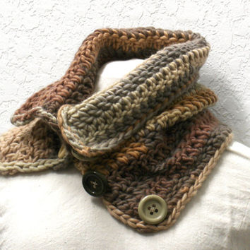 Crochet Cowl Chunky Button Up wool blend earth tones scarf