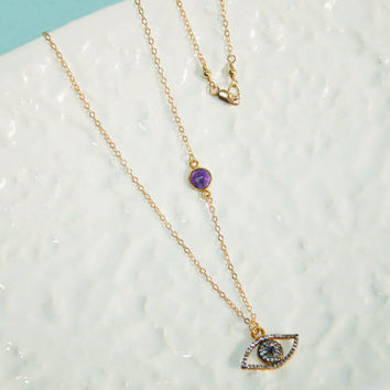 Evil Eye & White Topaz Vermeil Charm and Amethyst Vermeil Link Gold Fill Short Necklace Kaya Jewelry
