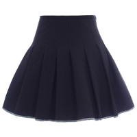 Romwe Pleated High-waist Contrast Trimming Zippered Black Skirt