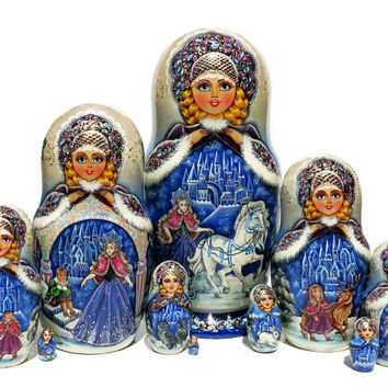 Snow Queen 10 Piece Exclusive Hand Painted Babushka Nesting Doll