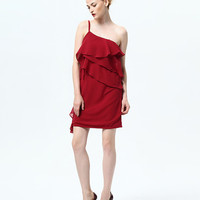 Single Spaghetti Strap Ruffled Layer Mini Dress