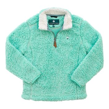 YOUTH Sherpa Pullover with Pockets in Aqua Sky by The Southern Shirt Co.