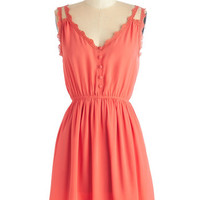ModCloth Short Length Spaghetti Straps A-line Farmer's Market Morning Dress in Coral