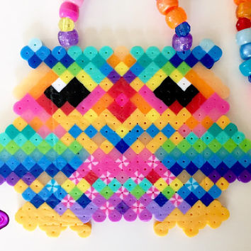 Owl Perler Necklace EDC Kandi Owl Necklace Glow in the Dark Kandi EDM Rave Gear Neon Kandi Necklace