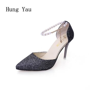Woman Sandals High-Heeled Shoes Fashion Bling Pointed Wedding String Bead Thin Heels Pumps 2017 Summer Style Shoes Woman Sexy