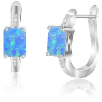 3.42 CTTW Genuine Opal and Diamond Leverback Earring