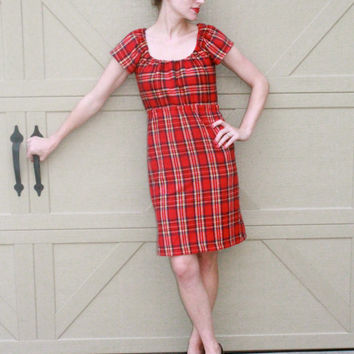 Red Flannel Dress, Warm Winter Dress, Knee Length xs s m l xl xxl xxxl
