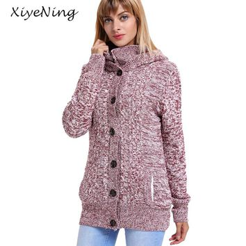 Winter Warm Knitting Sweater Outwear With Hooded Thicken Cashmere Inside Knitwear Casual Long Sleeve Cardigans Female Sweaters