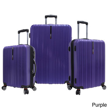 Traveler's Choice Tasmania Polycarbonate 3-piece Expandable 8-wheel Spinner Luggage Set | Overstock.com Shopping - The Best Deals on Three-piece Sets