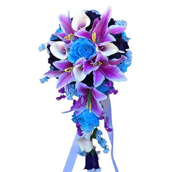 Cascade Bouquet - Baby Blue, Eggplant Purple, and Lavender Rose Arrangement