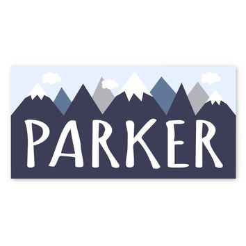 Personalized Name CANVAS, Navy Blue Gray Mountains Woodland decor, Baby Boy Nursery art Minimalist Wall Sign, 10x20 inches