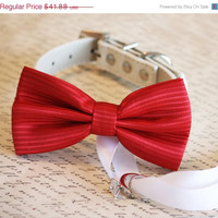 Red Dog Bow Tie, Dog ring bearer, Red Pet Wedding accessory, Christmas Gift, Love, Valentine day gift, Proposal idea, Chic