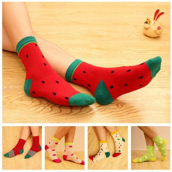 Sale 2018 New Cotton Fruit Socks Women Watermelon Pineapple Kawaii Food Spring Girls Socks
