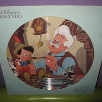 Disney Picture Disc Pinocchio Original Soundtrack Vinyl Record Album LP 1980 Children's Classics