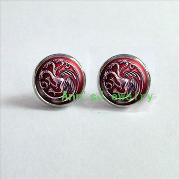 HZ4-00297 1pair Game of thrones stud earrings House Targaryen ear nail dragon Game of thrones Earrings jewelry glass Cabochon