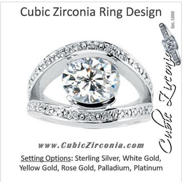 Cubic Zirconia Engagement Ring- The Sallie (3.14 TCW Oval Cut Center with Round Channel Split Band)