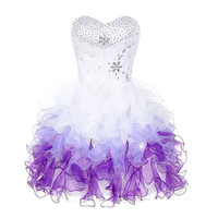 Purple Ombre Cocktail Dresses 2017 Knee Length Party Dress Summer Beaded Ruffles Ball Gown Cocktailjurk Short Cocktail Dress