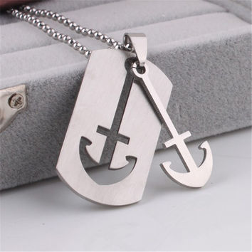 ER 2016 New Cheap Mens Anchor Necklace Male Collares Vintage Neckless Colar Masculino Stainless Steel Jewerly PN001