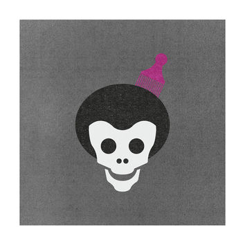 Skull With Afro Adhesive Art Print