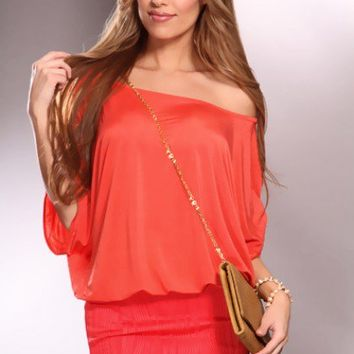 Coral Off Shoulder Textured Fabric Banded Bottom Stylish Dress @ Amiclubwear sexy dresses,sexy dress,prom dress,summer dress,spring dress,prom gowns,teens dresses,sexy party wear,women's cocktail dresses,ball dresses,sun dresses,trendy dresses,sweater dre