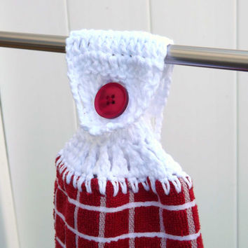 Kitchen Towel - Red and White Checked Hand Towel with White Crocheted Top - Country Chic - Vintage Inspired - Grandma's Towel - fridge oven