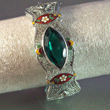 Art Deco Filigree Enamel Bangle Bracelet, Vintage Rhodium Plate, Emerald Green Paste Setting