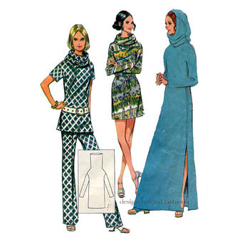 70s Boho Hippie SWEATER DRESS Pattern Tunnel Cowl Neck Hooded Tunic Top Pants McCalls 2301 Bust 34 UNCuT Women's Vintage Sewing Patterns