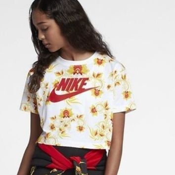 Nike Fashion Women Personality Yellow Flower Letter Print Short Sleeve T-Shirt Pullover Top