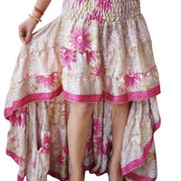Floral Hi Low Gypsy Skirt Vintage Recycled Sari Flare Tiered Ruffle Flirty Summer Skirts S/M