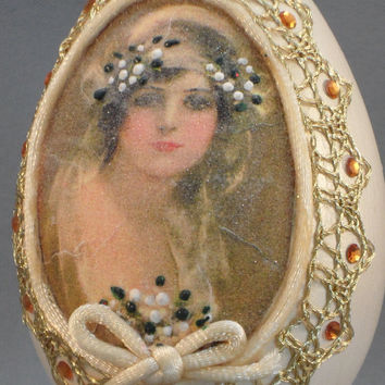 Victorian Bride Framed w Swarovski Jewels Bridal Shower Gift Wedding Gift Anniversary Gift Egg Ornament Faberge Style Decorated Egg