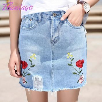 Women Embroidery Skirt Vintage Frayed Denim Skirt Ripped Hole Mini Skirt Fashion Above Knee Rose Floral Embroidered Jeans Skirts