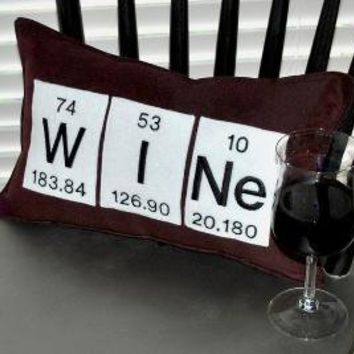 Periodic Table Wine Pillow by YellowBugBoutique on Etsy
