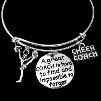 Cheer Coach Cheerleader Jewelry Adjustable Bracelet Expandable Silver Charm Bangle One Size Fits All Gift A Great Coach is Hard to Find and Impossible to Forget