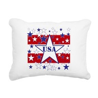 USA STARS and Stripes Rectangular Canvas Pillow
