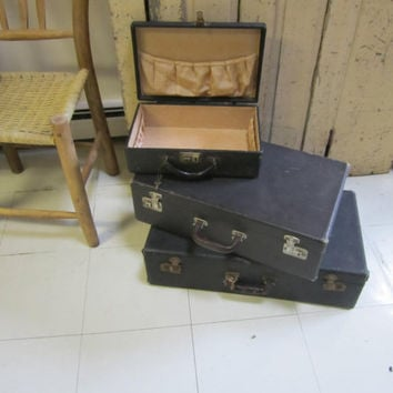 Set of Three Vintage Black Suitcases 1930's luggage. Storage / display / travel