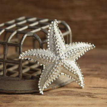 Silver Starfish Brooch - Vintage sea brooch - beach brooch - shore brooch - star fish brooch - sea life brooch - beach pin vintage sea star