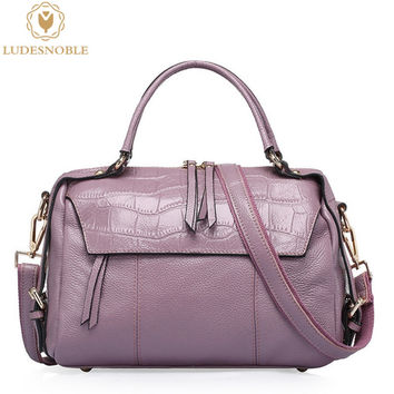 LUDESNOBLE Genuine Leather Bag Female New Alligator Crossbody Bag Female Handbags Vintage Shoulder Bags Ladies Women Bag SAC
