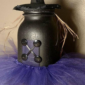 Wicked Witch Mason Jar - Halloween Witch Decor - Black and Purple Witch