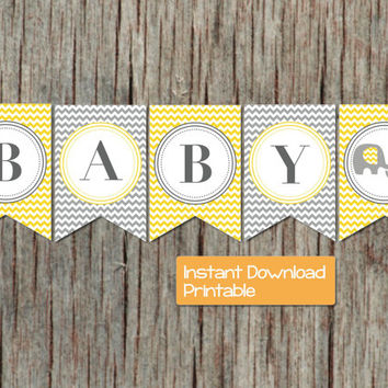 Baby Shower Banner Yellow Grey Chevron Elephant Printable INSTANT DOWNLOAD DIY pdf Baby Shower Banner Party Supplies Decorations Boy Girl 42