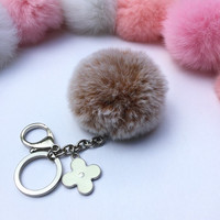 Silver Summer Series Rusty REX Rabbit fur pompom keychain ball with flower bag charm