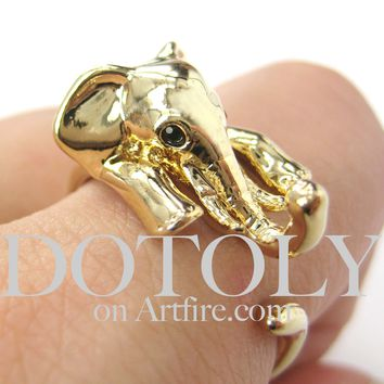 Elephant Animal Wrap Around Ring in Shiny Gold - Sizes 4 to 15 Available