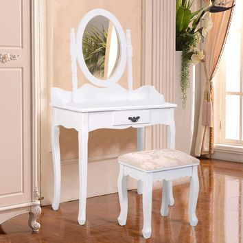 Classic Vanity Dressing Table With Stool & Swivel Mirror
