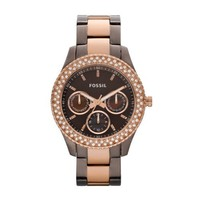 Fossil Ladies Rose Gold Tone Stone Set Watch