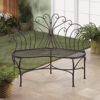 Peacock Inspired Iron Patio Bench