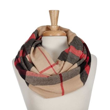 Tan, Black, and Red Plaid Infinity Scarf