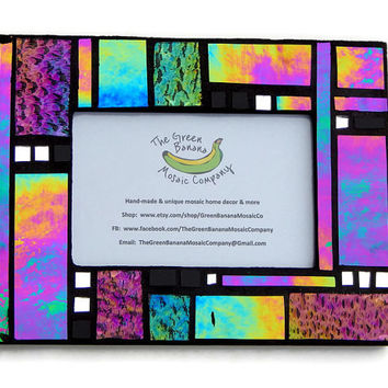 Mosaic Picture Frame, 4 x 6 Picture Frame, Black+Iridescent+Textured Glass, Handmade Stained Glass Mosaic Design