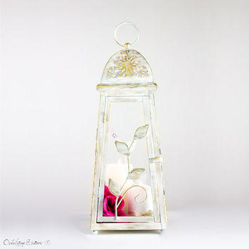Big Wedding Lantern Centerpiece/ Card Holder/ Indoor Outdoor Lantern/ Creamy White with Gold Candle Holder/ Dorm Party Decor